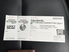 Daiwa fishing competition ticket
