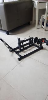 Line spooling device with drilling machine