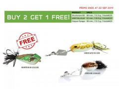 Buy 2 big buzzbait and get 1 big jumpfrog for free!