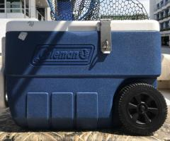 Coleman 50 quart Wheel cooler with stainless steel hinges and lock