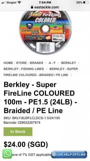 Berkley Super Fire Line , Color PE 1.5