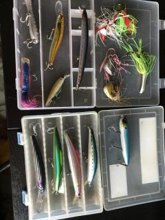 15 pc Assorted saltwater lures and jigs (w/ free tackle boxes!)