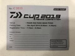 Daiwa Cup 2019 Fishing Comp ticket at Pasir Ris Main Pond